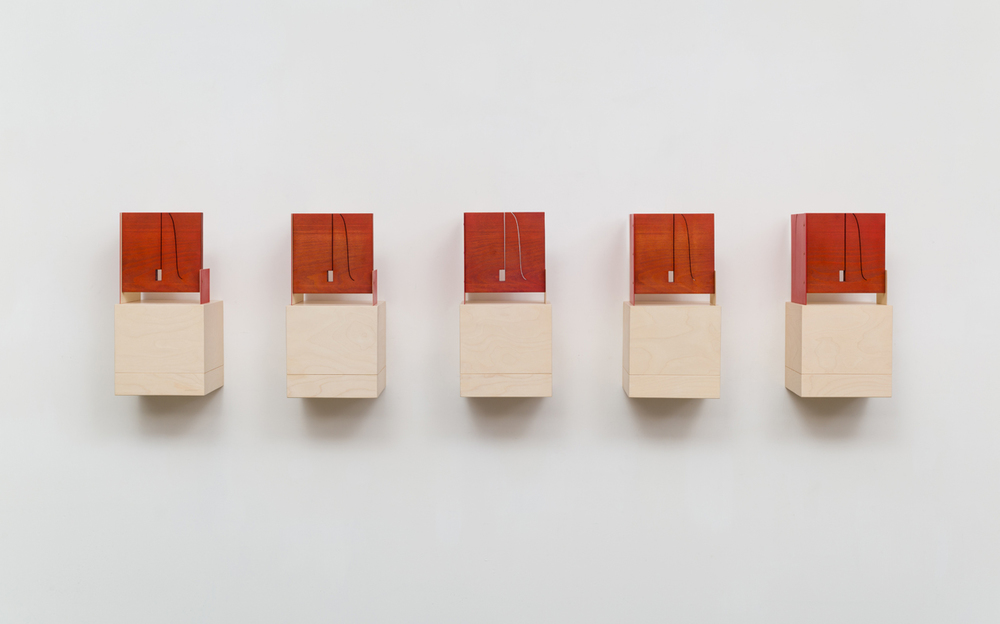Red Trim (Keyholes) 2015 Euro beech hardwood, birch plywood, steel, copper rivets, enamel, wax 5 parts, each: 20.3 x 17.7 x 17.7 cm / 8 x 7 x 7 in 5 shelves, each: 20.3 x 20.3 x 20.3 cm / 8 x 8 x 8 in