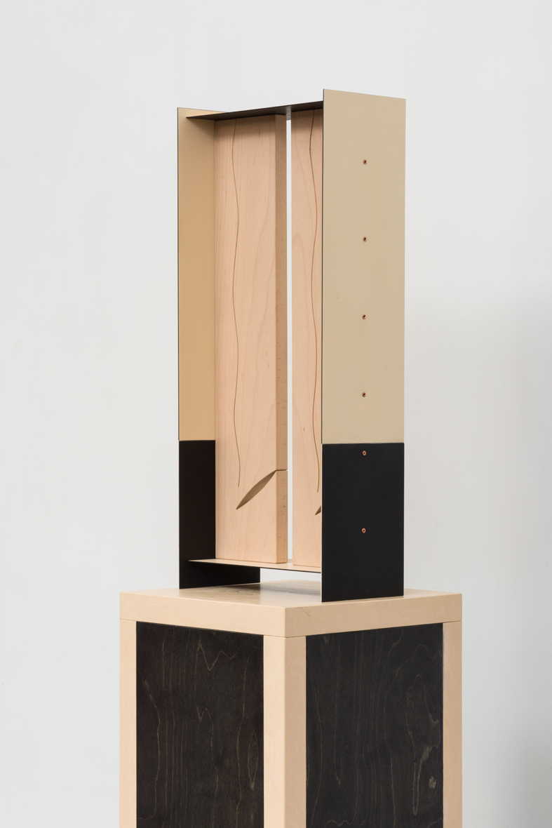 Column Study  2015 Euro-beech hardwood, birch plywood, steel, copper rivets, enamel, wax 66 x 28.4 x 15.2 cm / 26 x 11.2 x 6 in Plinth: 137.1 x 33 x 33 cm / 54 x 13 x 13 in