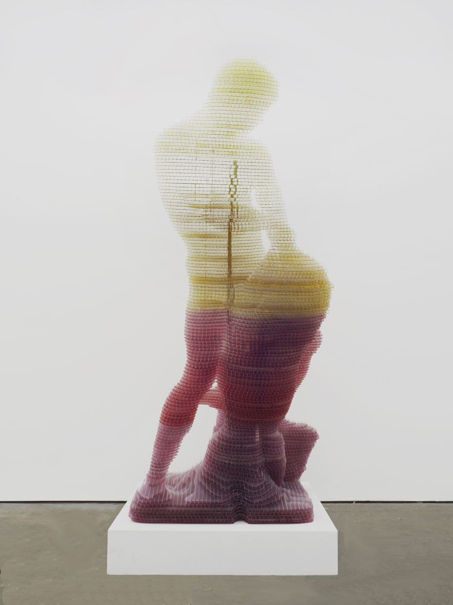 Matthew Darbyshire CAPTCHA No. 7 - Samson and the Lion 2014 Multiwall polycarbonate, silicone and steel armature 224 x 110 x 110 cm / 88.1 x 43.3 x 43.3 in