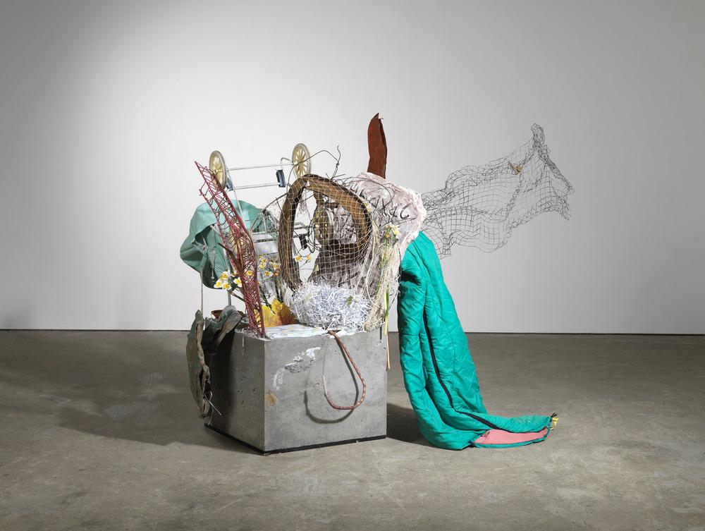 concrete sculpture (w stroller) 2015 Concrete, metals, textiles, paper, fake flowers, stroller 145 x 330 x 214 cm / 57 x 129.9 x 84.2 in
