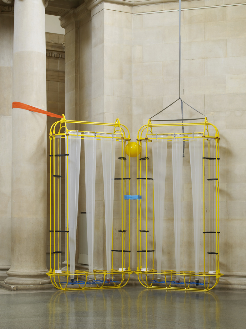 The yellow machines 2015 Steel, aluminum, acrylic, styrene, copper, stainless steel, nylon webbing, polyethylene, nylon, resin, rubber 326 x 406 x 80.2 cm / 128.3 x 159.8 x 31.5 in