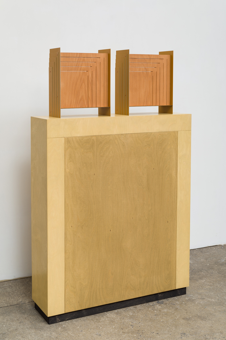 Double Corner (Perspective) 2015 Euro-beech hardwood, birch plywood, steel, copper rivets, enamel, wax 2 parts, each: 38.1 x 30.4 x 15.2 cm / 15 x 12 x 6 in