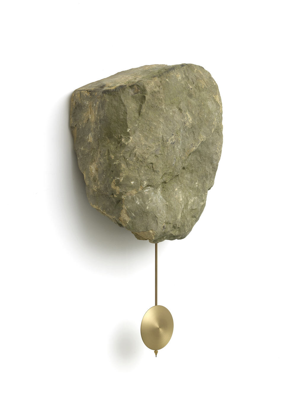 Clock Rock 2015 Yorkstone rock, brass pendulum, clock movement 75 x 44 x 23 cm / 29.5 x 17.3 x 9 in