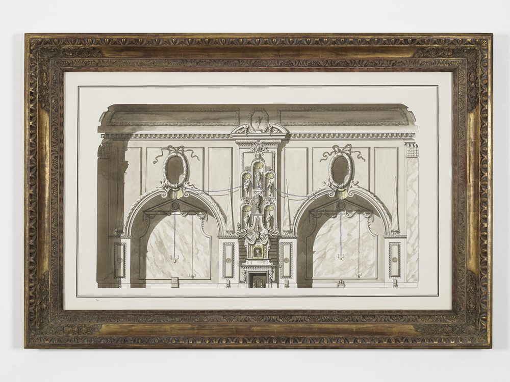 Decorative Scheme for the Chatsworth Rembrandt 2015 Ink and watercolour on paper in artist frame 115.5 x 171 cm / 45.4 x 67.3 in