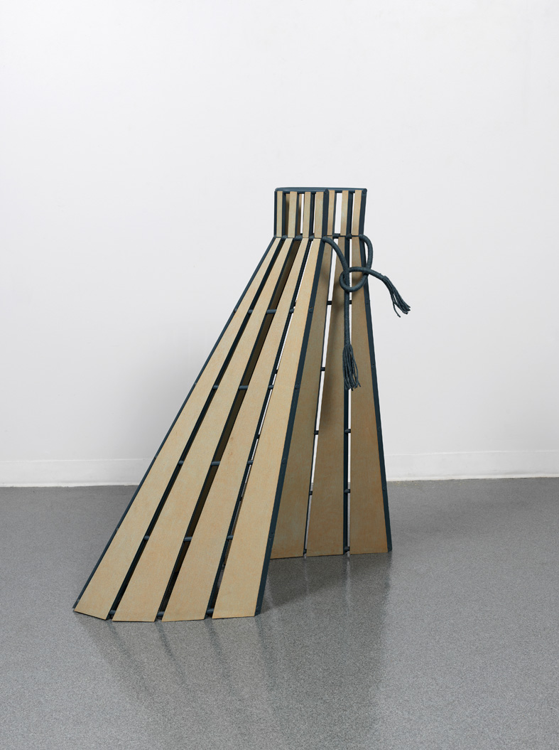 Diane Simpson Box Pleats 1989 Stain and coloured pencil on MDF and wool 116.8 x 106.6 x 50.8 cm / 46 x 42 x 20 in