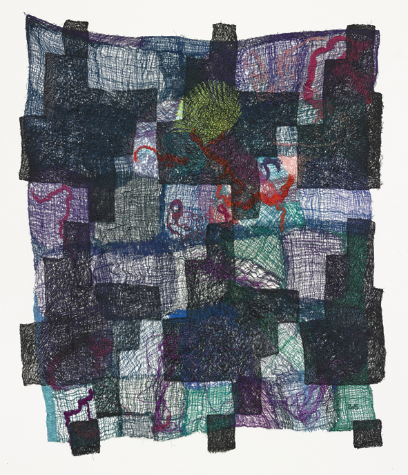 Fabric  2015  Polyester, silk, cotton, wool  136.5 x 115 cm / 53.7 x 45.2 in  153.8 x 132.3 x 7.6 cm / 60.5 x 52 x 2.9 in (framed)