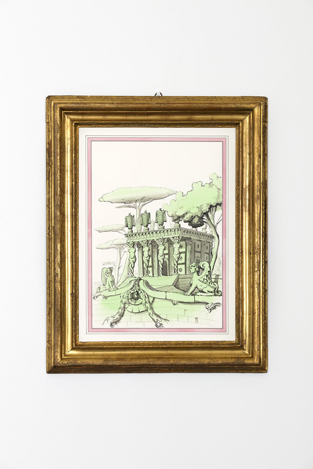 Mannerist Assemblage with fragments from an Alberti structure  - Temple of furies 2015 Ink and watercolour on paper in artist's frame 74.5 x 59.8 cm / 29.3 x 23.5 in