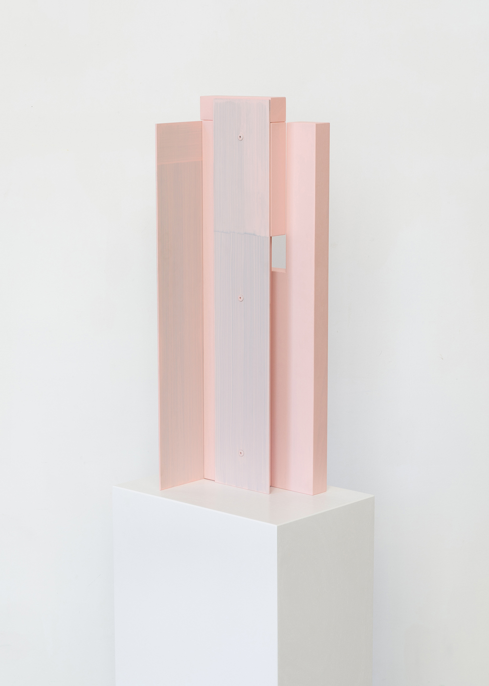 Untitled (Rose) 2015 Euro Beech hardwood, steel, aluminium rivets, acrylic 55.8 x 20.3 x 20.3 cm / 22 x 8 x 8in