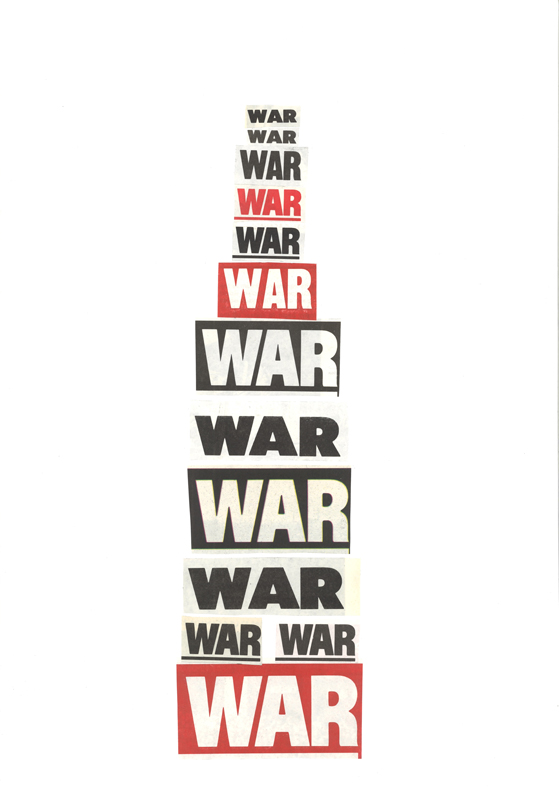 War tower 2015 Newspaper clippings on paper 42 x 29.7 cm / 16.5 x 11.6 in