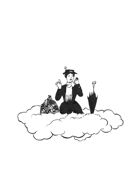 Mary Poppins 2015 Ink on Paper 42 x 29.7 cm / 16.5 x 11.6 in