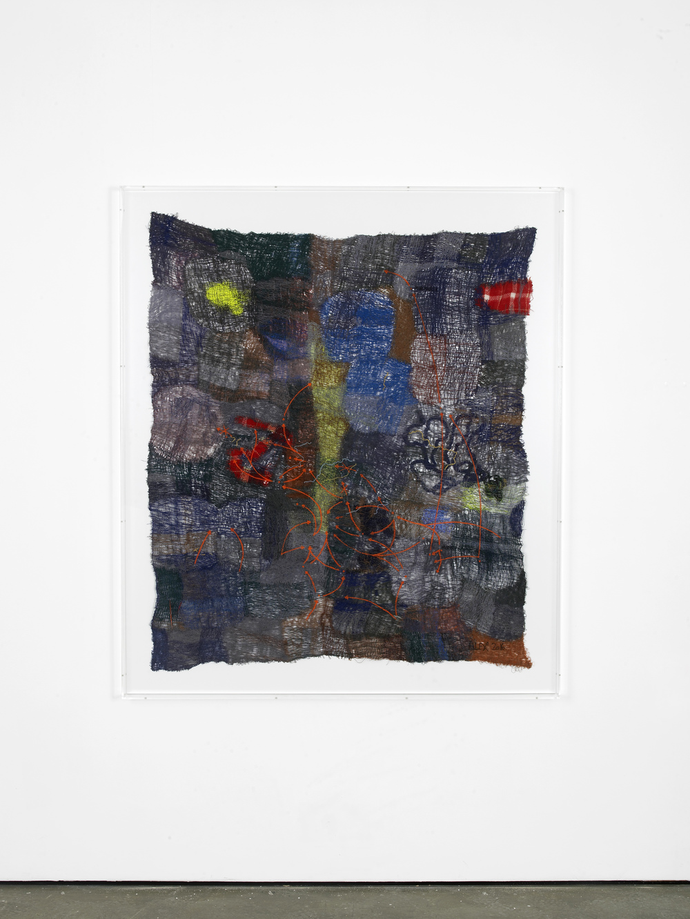 Traffic 2016 Polyester, wool, viscose 146 x 123 cm / 57.4 x 48.4 in 164.2 x 141.2 x 7 cm / 64.6 x 55.5 x 2.7 in (framed)