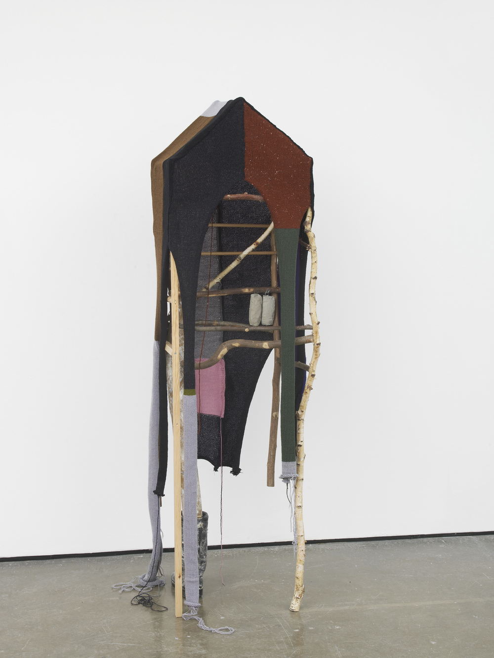 Walking house 2016 Leather boot, plaster, wood, metal, wool 184 x 50 x 60 cm / 72.4 x 19.6 x 23.6 in