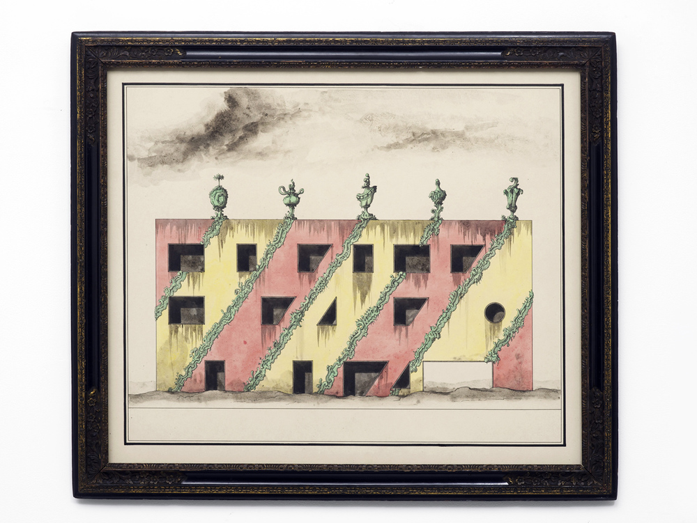 European building from the 1990's subsequently redecorated and abandoned 2016 Ink and watercolour on paper in artists frame 58 x 67 cm / 22.8 x 26.3 in