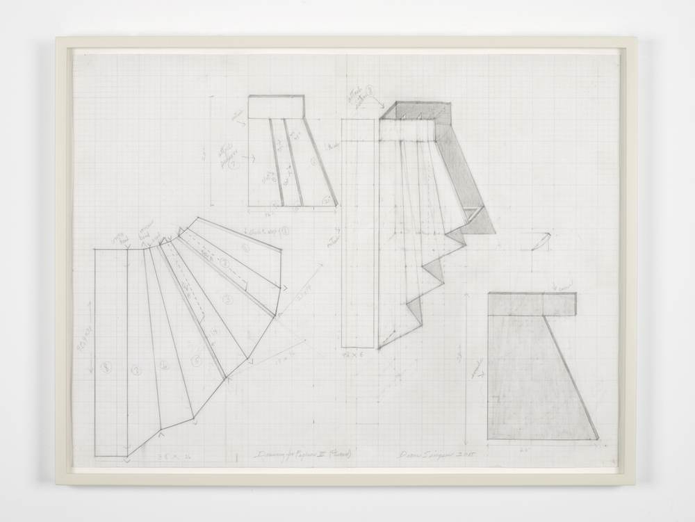 Drawing for Peplum III 2014-2015 Graphite on graph paper 50.4 x 65.7 cm / 19.8 x 25.8 in