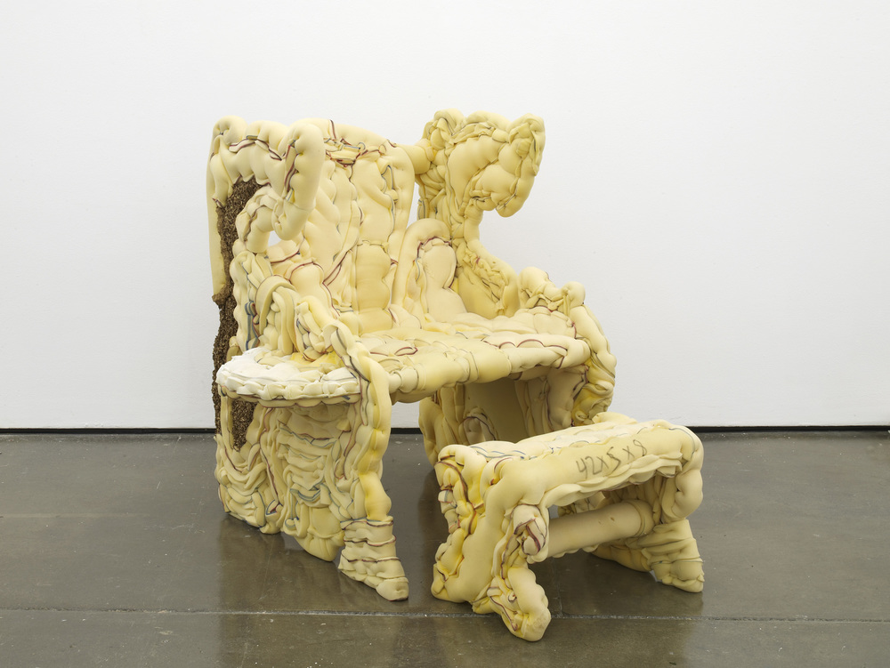 Jessie Reaves You're There Again Armchair 2015 Plywood, polyurethane foam, sawdust, hardware, ink 109.2 x 101.6 x 78.7 cm / 43 x 40 x 31 in HS12-JR5451S