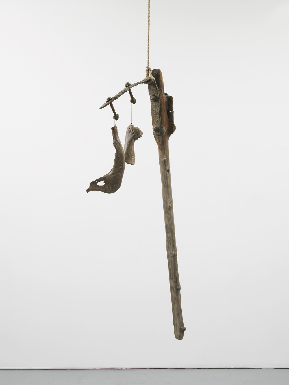 Franziska Lantz THAMES, no title 2016 Wood, metal, bones, rope, string 140 x 56 x 10 cm / 55.1 x 22 x 3.9 in HS12-FL5507S