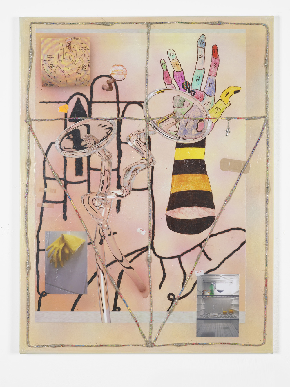 Nicholas Cheveldave Defroster III 2016 Photolaminate, acrylic, paper, friendship bracelets, hemp and metal on canvas 80 x 60 cm / 31.4 x 23.6 in  HS12-NC5460P