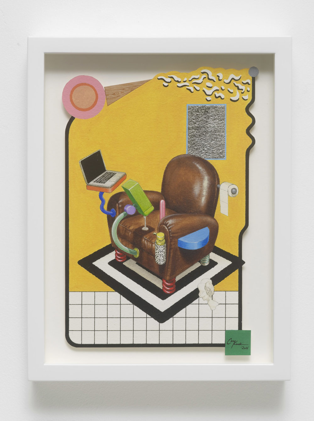 Pimp My Vice (Sottsass Style) 2016 Ink, Acrylic and Palladium Leaf on paper 22.5 x 15.5 cm / 8.8 x 6.1 in Unframed 26.8 x 20.5 x 4 cm / 10.5 x 8.1 x 1.6 in Framed