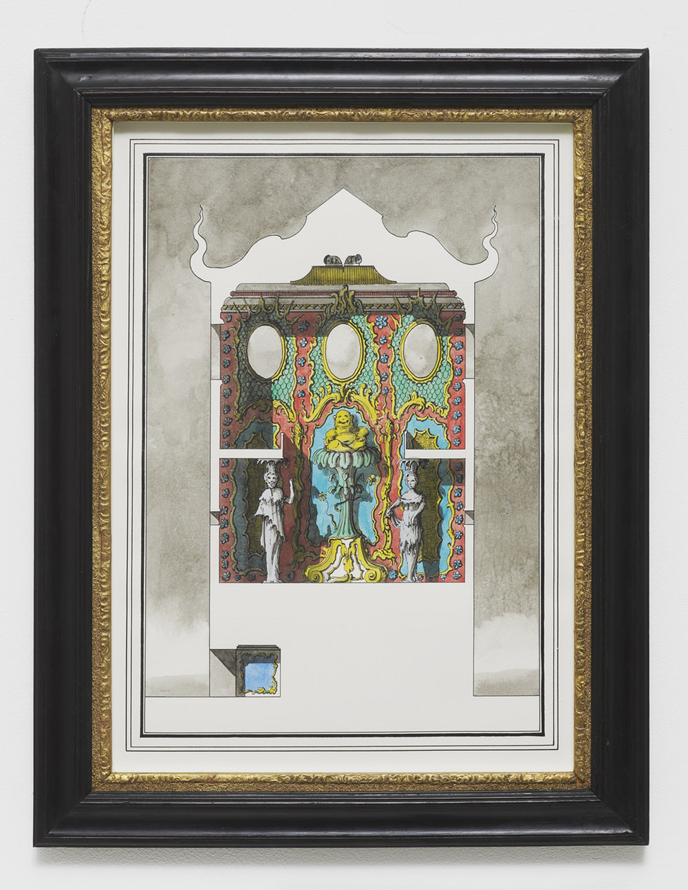 Two-storey, two room pavilion in the Oriental Taste 2016 Ink and watercolour on paper 45.2 x 34.8 cm / 17.7 x 13.7 in (framed)