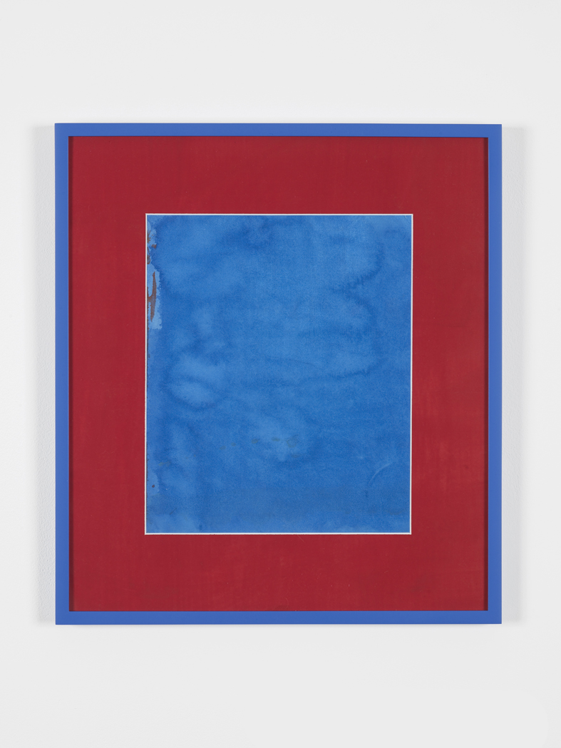Blue Button 2015 Acrylic on paper, painted mat board, perspex, artist's frames  47 x 41 x 2.5 cm / 18,5 x 16,2 x 1 in