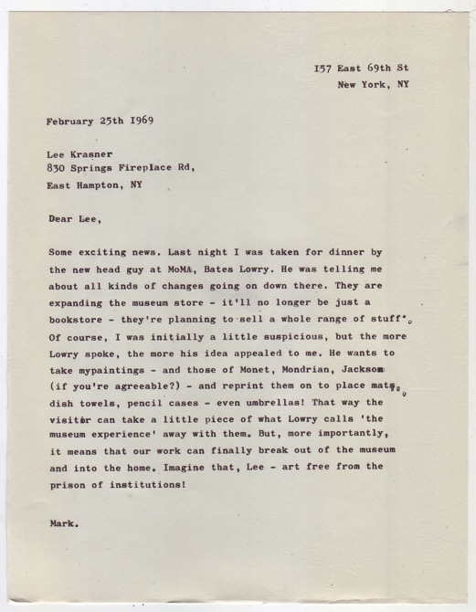 Rothko/Krasner 2015 Typewritten letter on vintage writing paper  22.7 x 17.7 cm / 8.9 x 6.9 in