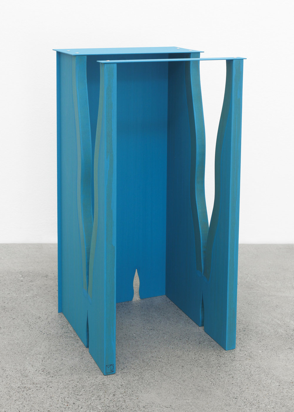 Cracked Stool 2016 Birch plywood, euro-beech hardwood, aluminum, aluminum rivets, acrylic 50.8 x 25.4 x 25.4 cm / 20 x 10 x 10 in