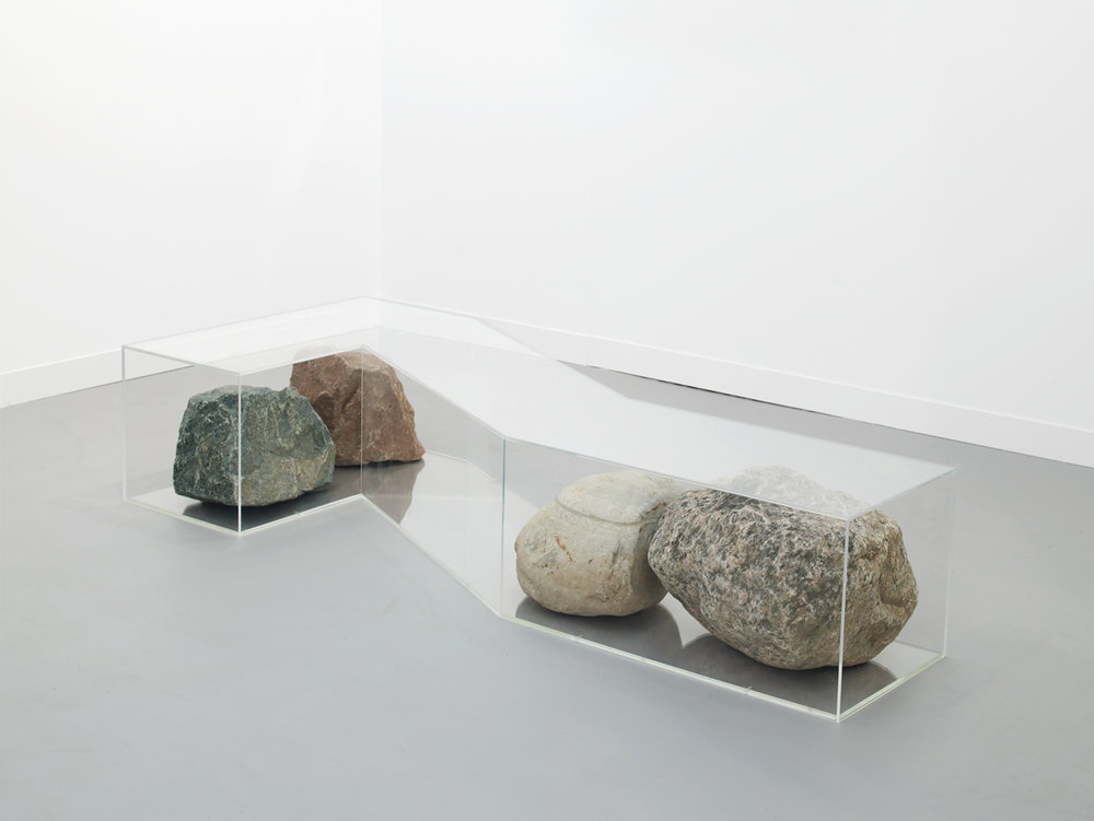 Rock Bench 2016 Plexiglas and rocks 40 x 207 x 84 cm / 15.7 x 81.5 x 33.1 in