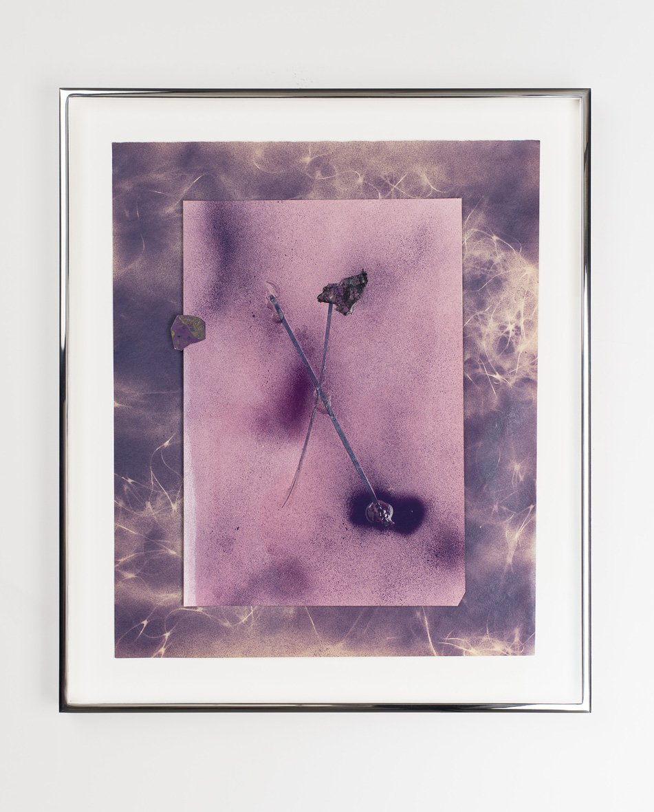 Untitled 2008 - 2016 Enamel paint, acrylic medium, dyed paper, dyed colour photograms mounted on colour photogram, mounted on newsprint with enamel paint 51.6 x 43.8 x 3.8 cm / 20.3 x 17.3 x 1.5 in framed
