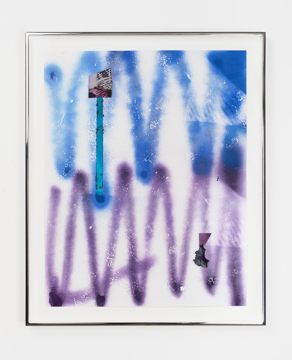 Untitled 2009 - 2016 Acrylic paint, enamel paint, dyed colour photograms, dyed solarised silver gelatin print, dyed paper on paper 69.3 x 56.6 x 3.8 cm / 27.3 x 22.3 x 1.5 in framed
