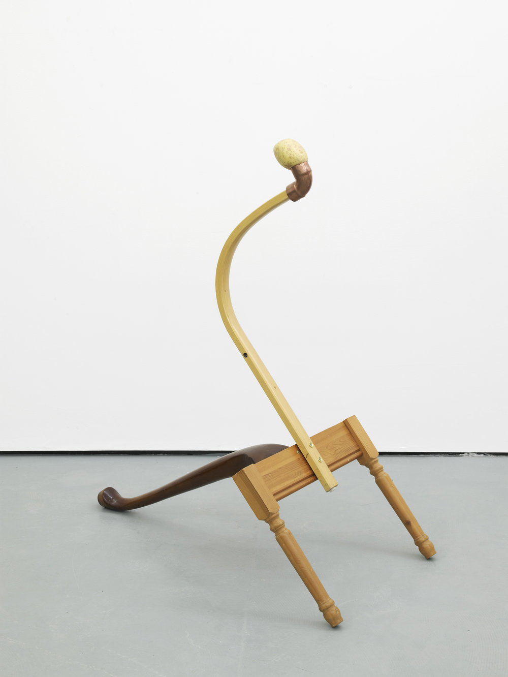 Catachresis ♯72 Eye of the potato, elbow of the pipe, arm of the chair and legs of the tables 2016 Found materials 110 x 56 x 98 cm / 43.3 x 22 x 38.6 in