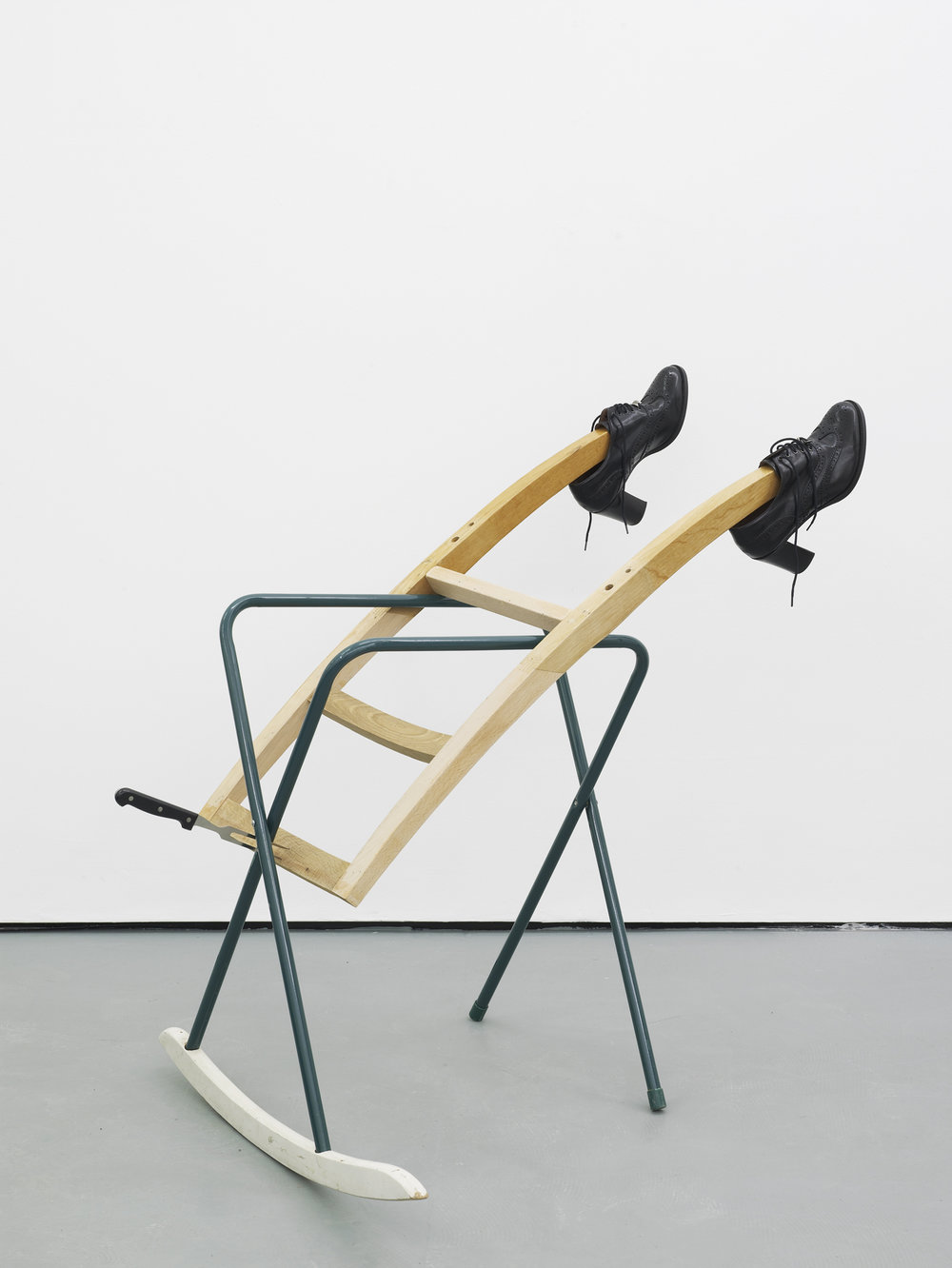 Catachresis ♯63 Tongues of the shoes, legs of the chair, legs of the table, teeth of the fork and arm of the chair 2016 Found materials 100 x 78 x 103 cm / 39.4 x 30.7 x 40.6 in