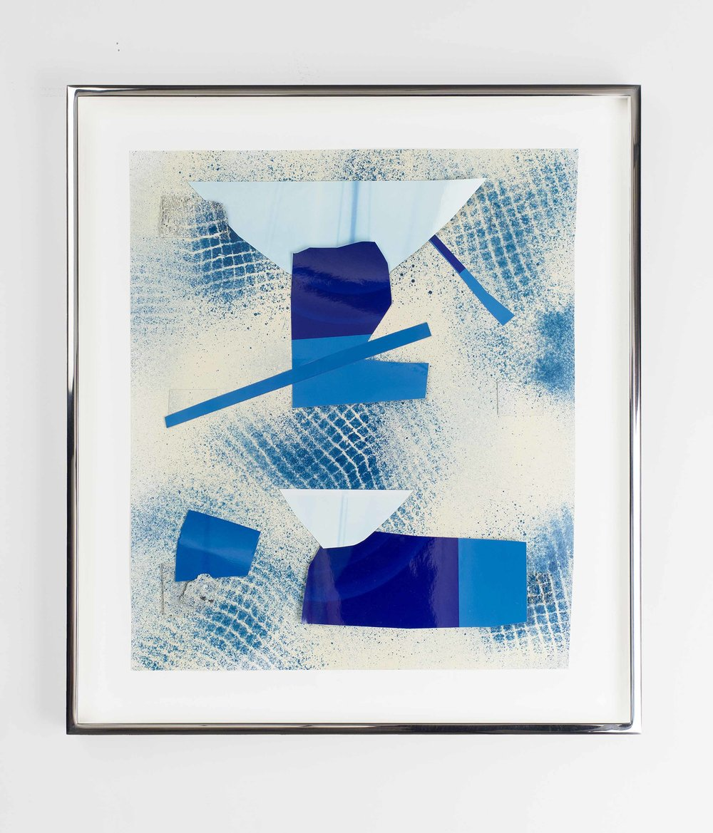 Untitled 2008 - 2016 Enamel paint, acrylic paint, mesh fabric, collaged colour photograms on paper 43.9 x 38.8 x 3.8 cm / 17.3 x 15.3 x 1.5 in framed