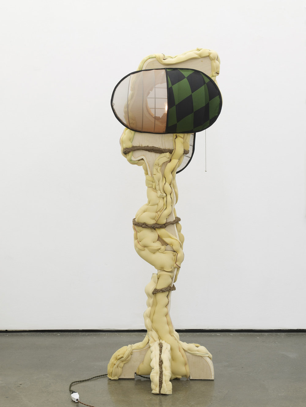 Stare Straight Ahead Standing Lamp 2015 Plywood, polyurethane foam, sawdust, steel, fabric, ink, lamp components 165.1 x 60.9 x 71.1 cm / 65 x 24 x 28 in