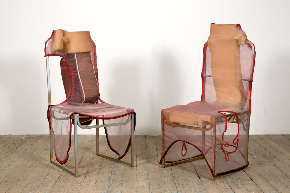His and Hers Ferraris (Ignazio Giunti) Steel, polyurethane foam, acrylic paint, cotton, silk, nylon, freshwater pearls  41 x 19 x 17 inches (104.14 x 48.26 x 43.18 cm) 2014