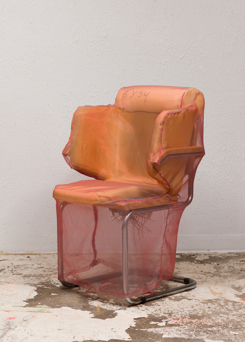 Cesca Leaves the Stack (Modified Chair) 2016 Polyurethane foam, tubular steel frame chrome plated finish, hardwood beech with cane inserts, rayon, nylon, plastic, ink and hardware 48 x 18.5 x 28 inches (121.92 x 46.99 x 71.12 cm)