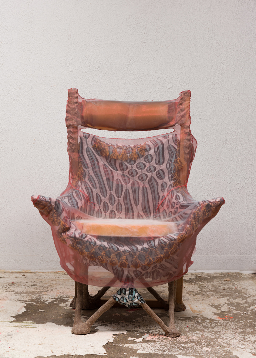 Sports Chair 2016 Steel frame, polyester, cedar, studio dust, wood glue, teak, cotton/spandex, rayon, nylon, polyurethane foam, polyester batting, silk and hardware 59 x 38 x 38 inches (149.86 x 96.52 x 96.52 cm)