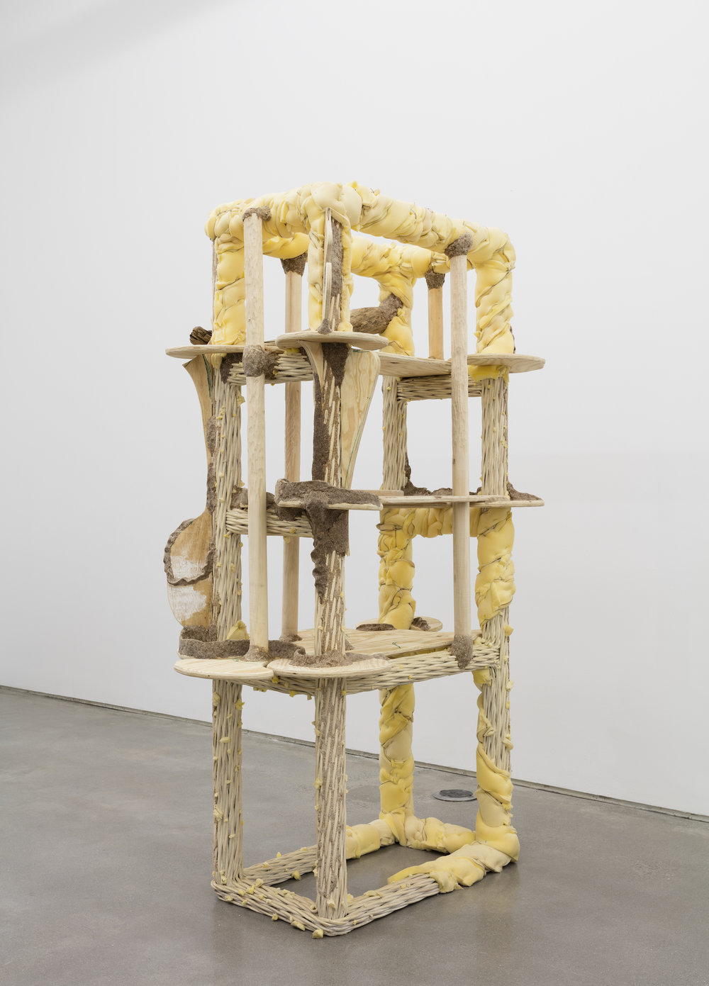 Deals 3 Damage (Wicker Shelf) 2016 Wood, wicker, plywood, studio dust, wood glue, polyurethane foam, ink, hardware 84 x 48 x 24 inches (213.36 x 121.92 x 60.96 cm)
