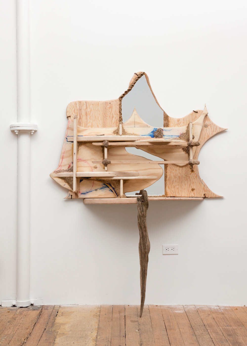 Hobbit's Vanity 2016 Plywood, driftwood, sawdust, marker, mirror, hand forged nails 67 x 51 x 13.25 inches (170.18 x 129.54 x 33.66 cm)