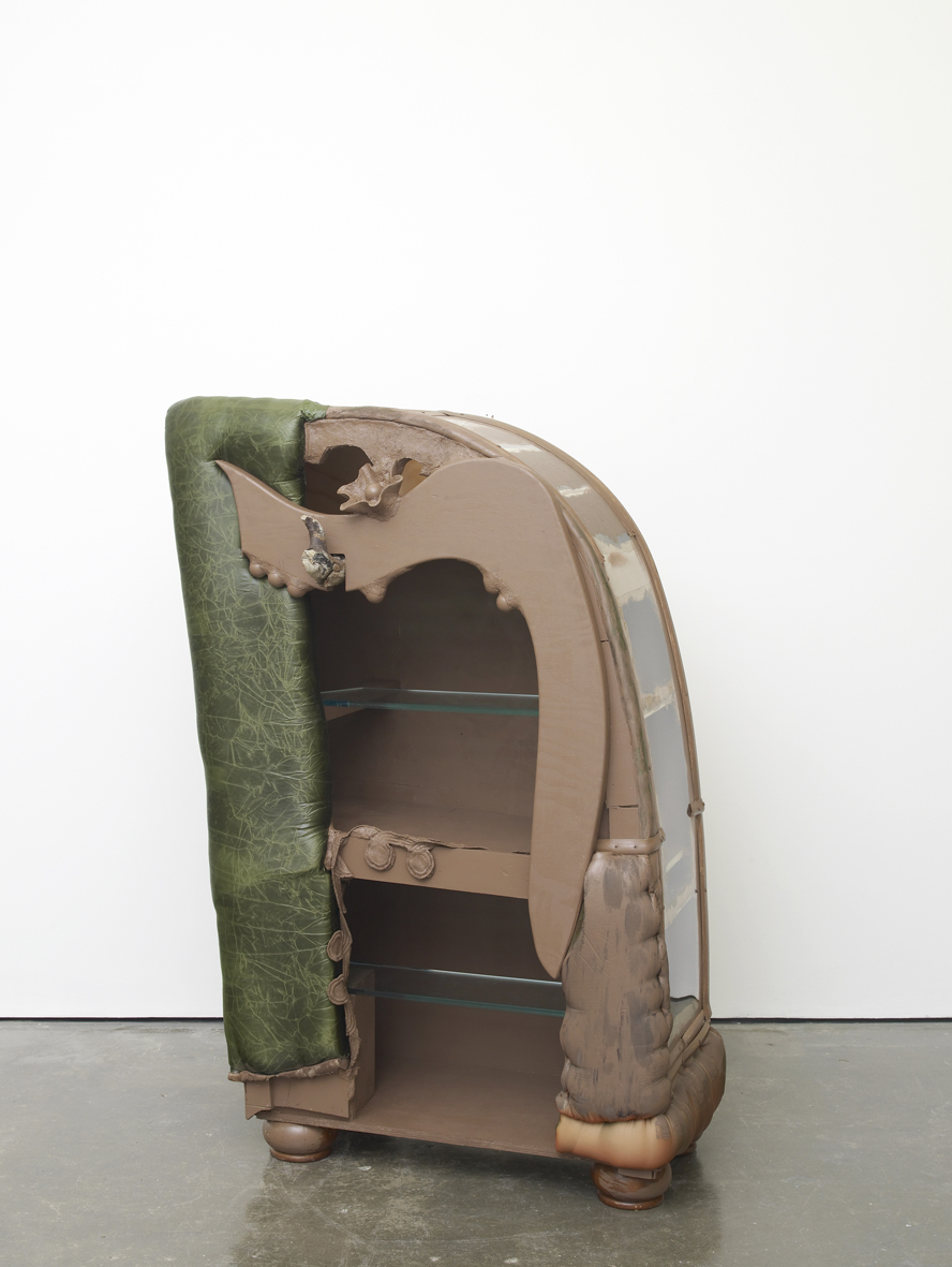 Brown Cabinet 2017 Plywood, fabric, foam, sawdust, wood glue, paint, plexiglass, bun feet, lucite and Masonite 157.5 x 94 x 53.3 cm / 62 x 37 x 21 in