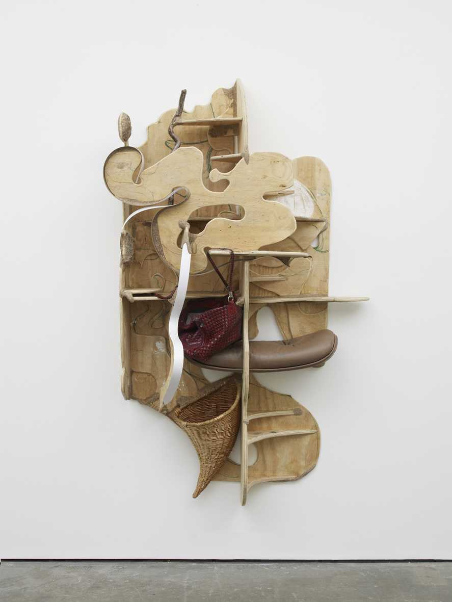 Walking and looking for you 2017 Plywood, wood, found objects, sawdust, wood glue, ink, laminate and paint 185.4 x 89 x 45.7 cm / 73 x 35 x 18 in
