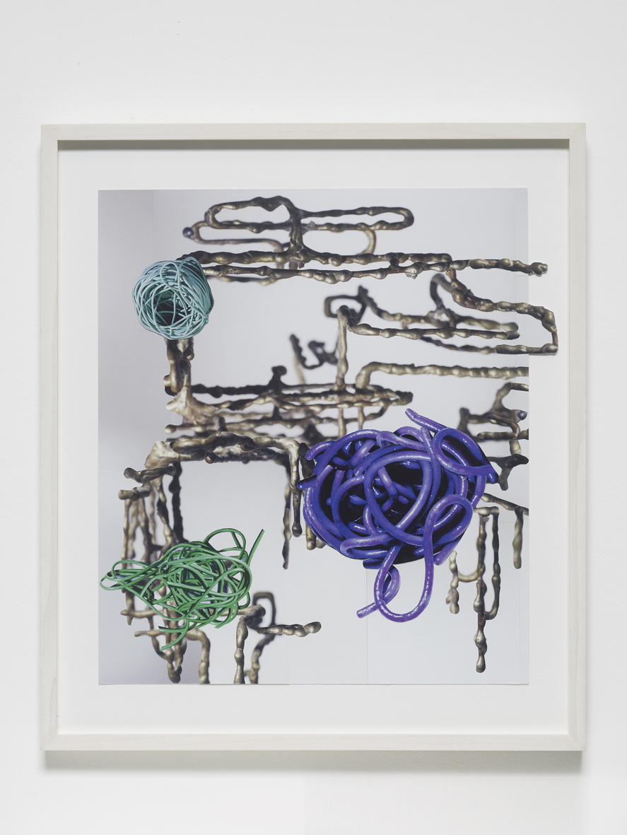 Untitled (bronze liquid shapes, cable and spagetti nests) 2017 Collage 47 x 41 x 2.5 cm framed