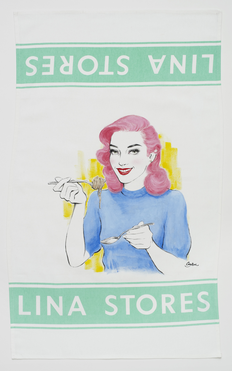 Luncheon (Lina Stores London 1940s)  2017  Fabric paint and glass pearl on Lina Stores cotton kitchen towel  76.5 x 46 cm / 30.1 x 18.1 in