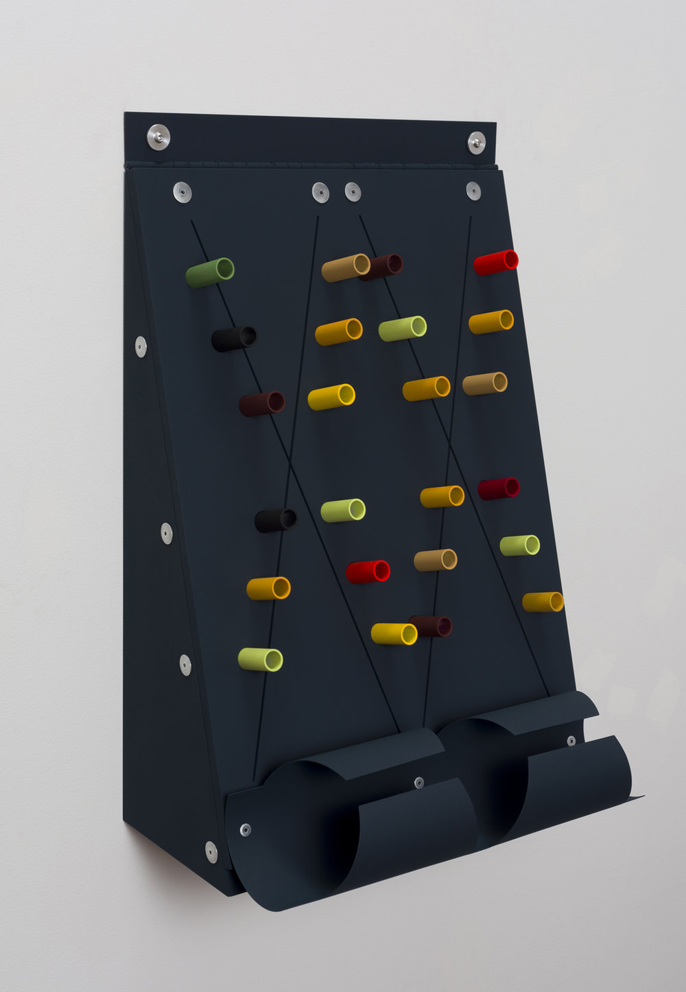 Untitled (Hinged top)  2019  Aluminium, aluminium rivets, aluminium hinge, rubber O - rings, vinyl paint  39.4 x 27.9 x 22.9 cm / 15.5 x 11 x 9 in