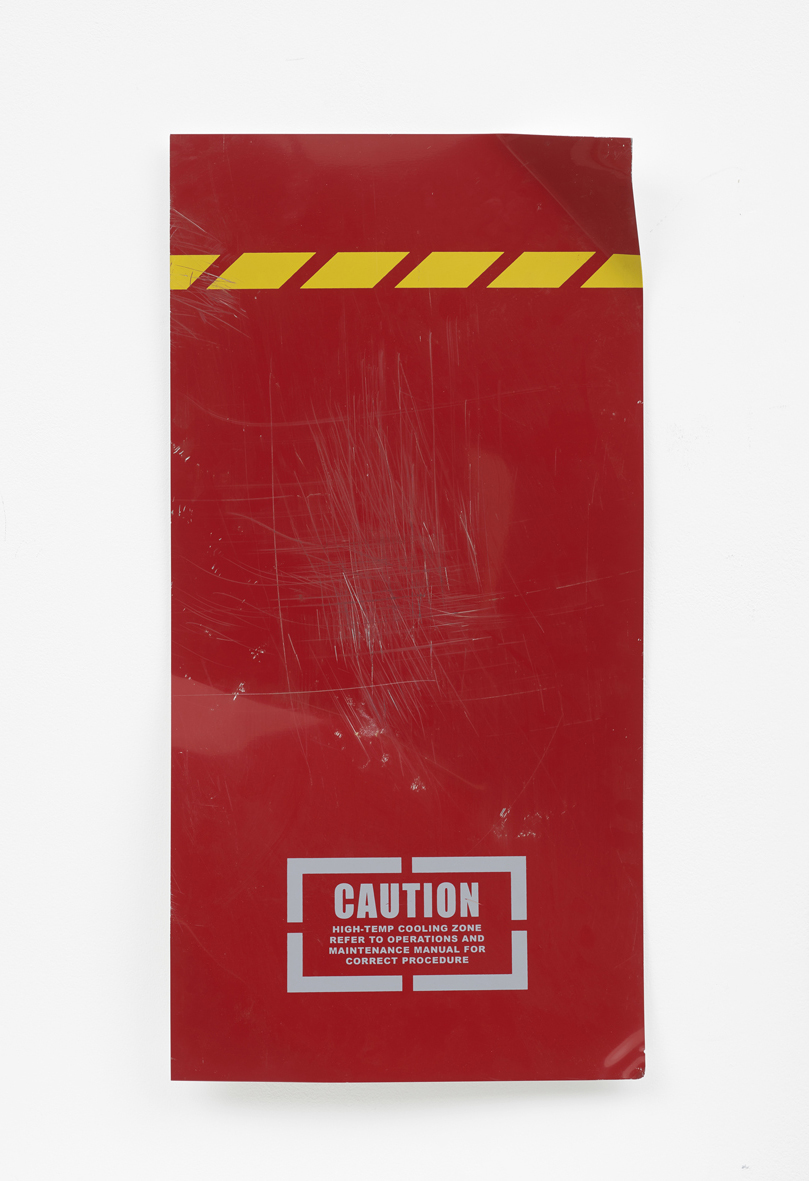 Untitled (caution red)  2018  Screenprint on aluminium, Battle damage  60.9 x 30.4 x 5 cm / 24 x 12 x 2 in
