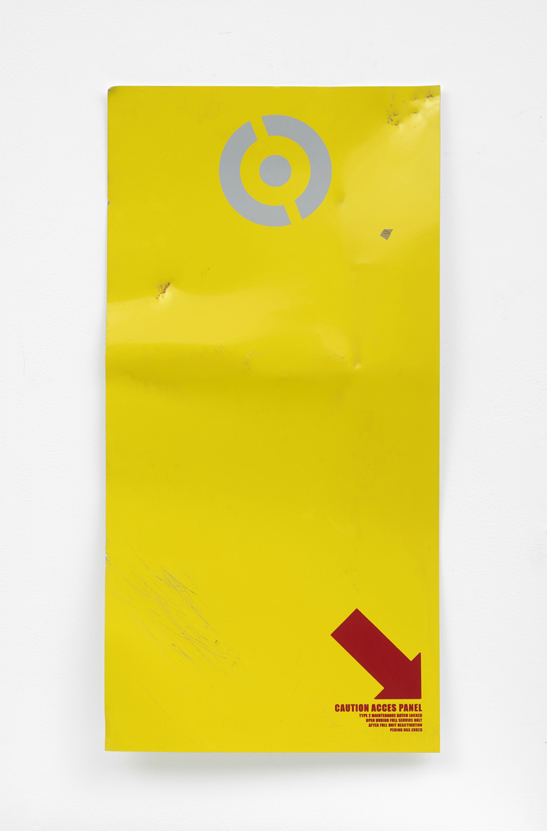 Untitled (caution access panel)  2018  Screenprint on aluminium, Battle damage  60.9 x 30.4 x 5 cm / 24 x 12 x 2 in