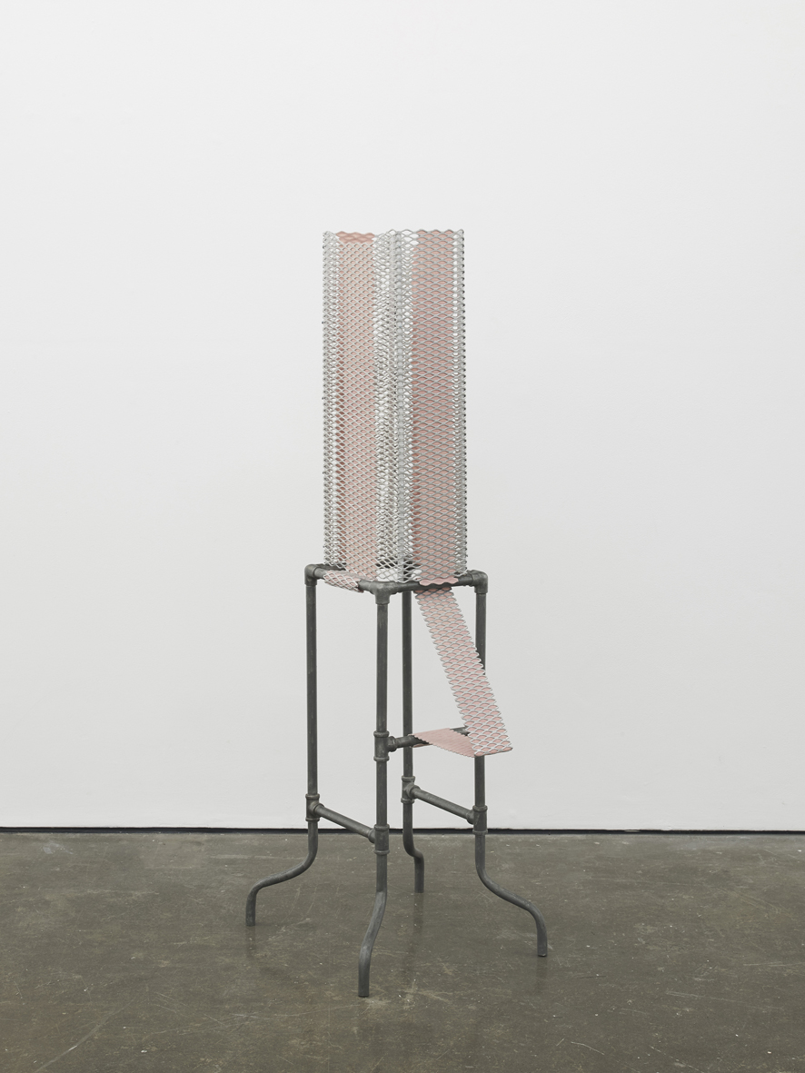 Tethered ( pink )  2017  Perforated aluminium, dyed wool crepe, industrial iron stand  148.5 x 60.9 x 45.7 cm / 58.5 x 24 x 18 in