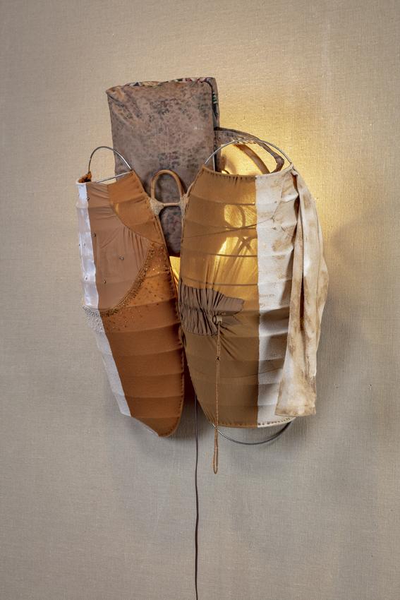 Go Back That Far in Time  2018  Steel, fabric, leather, wood, sawdust, wood glue, dopp kit  71.1 x 58.4 x 39.4 cm / 28 x 23 x 15.5 in