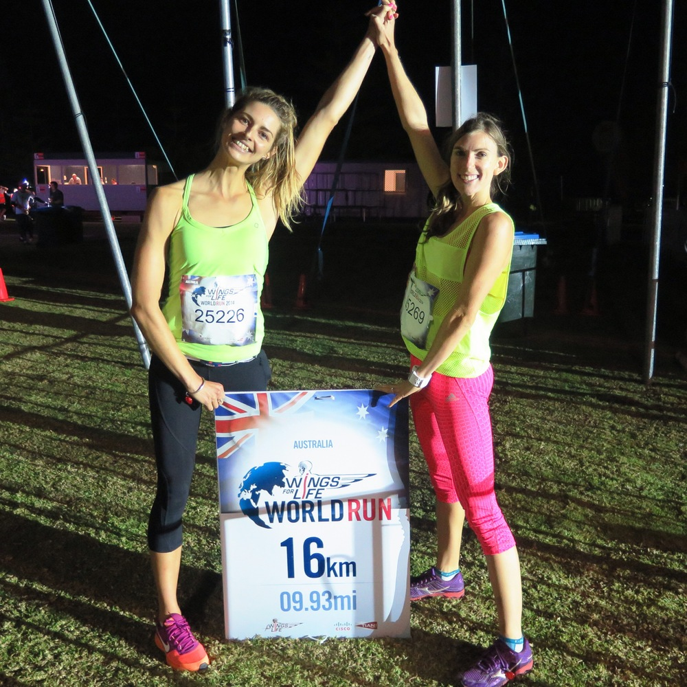 My best friend Nicole and I after the Wings For Life World  Run for spinal cord research. The aim was to run as far as you could before the chaser car got you...Nic and I had a goal of 10km, we smashed it and ran 16!! :D #teamwork