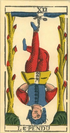Le Pendu, l'Appeso dei Tarocchi, rappresenta il mondo alla rovescia.