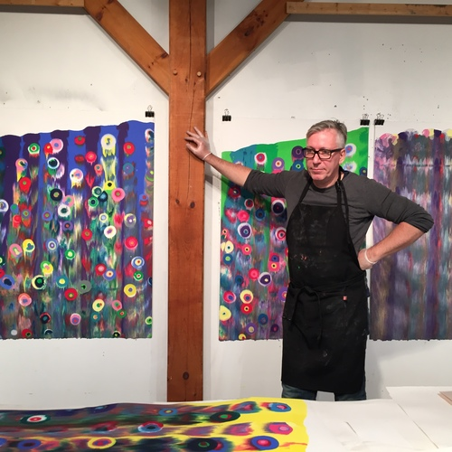 Markus Linnenbrink with his new monotypes IHEARDYOULOOKING(SCHRÄG)